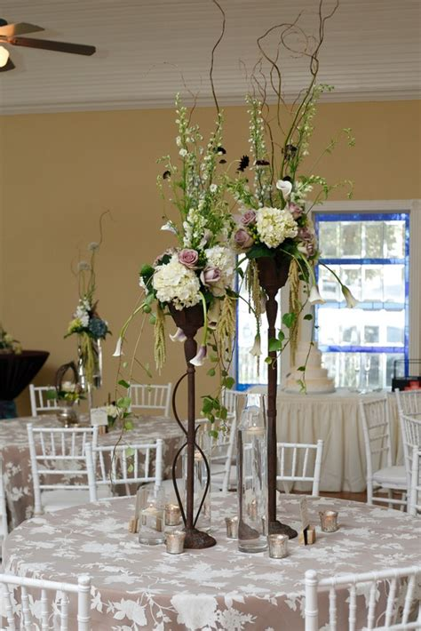 lilac ivory and green centerpiece wrought iron