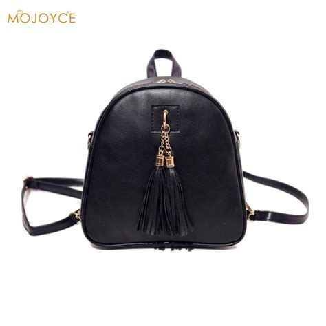 Fashion Mini Bag 980 fashion pu leather backpack mini tassel backpack shoulder bag school bags for