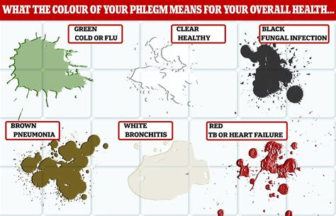 colors of phlegm phlegm colour chart what your mucus says about your
