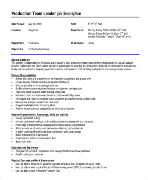 team leader description team lead description sle 9 exles in pdf