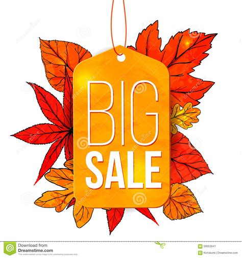 big sale banner with autumn leaves and yellow tag stock