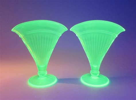 Uranium Vase by Pair Of Antique Uranium Glass Fan Vases Vaseline Green