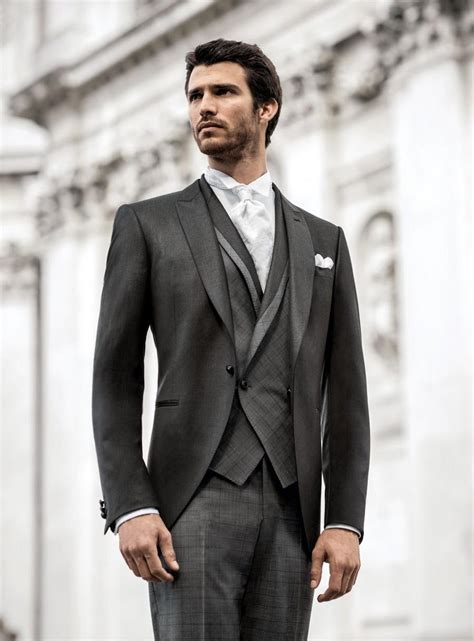 2014 Fit One Button Long Coat Grey Groom Wedding Tuxedos