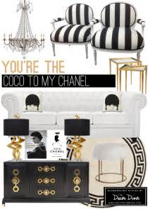black and white and gold room inspired by coco chanel the