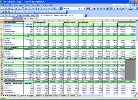 master budget template master budgeting excel spreadsheets