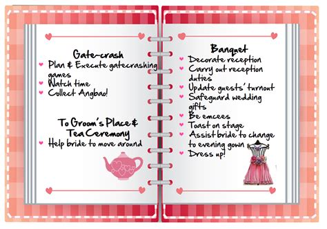 Wedding Checklist Singapore jie mei 姐妹 roles checklist for weddings in singapore