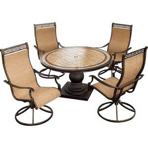 Sling Back Patio Dining Sets Monaco Monaco5pcsw 5 Piece Outdoor Dining Set 4 Sling