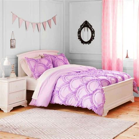light purple comforter set  girl ruffle bedding twin pc ebay