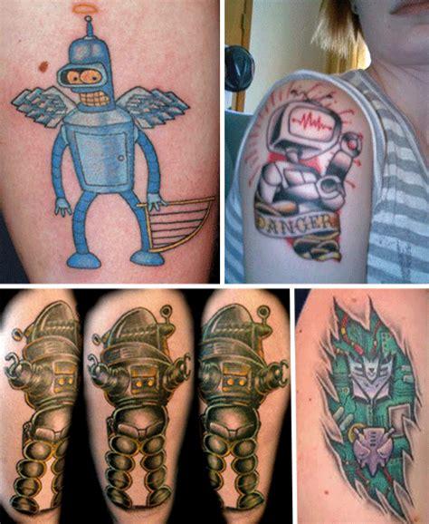 tattoo body cartoon robot tattoos awesome works of mechanical body art urbanist