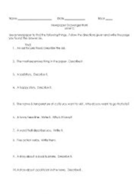 English worksheets: Newspaper Scavenger Hunt Level C