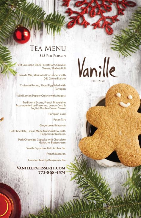 christmas tea menu authentic pastries desserts and cakes vanille patisseries