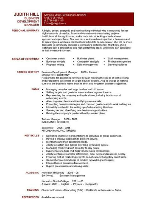 Business Development Sle Resume by Business Resumes Template Resume Builder
