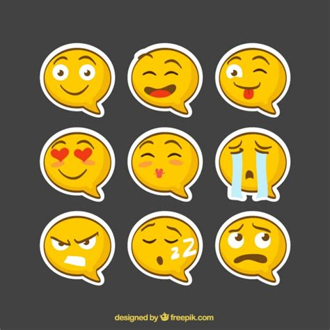 Smiley Sticker Free Download by Emoji Stickers Speech Bubble Shaped Vector Free Download