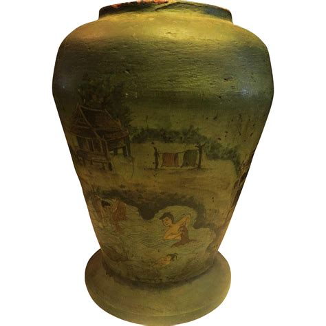 Paper Mache Vase For by Antique Painted Large Paper Mache Vase