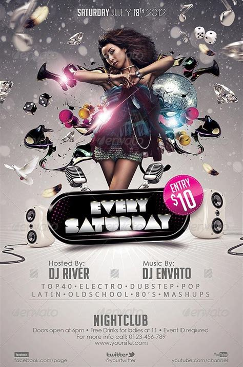 club flyers template every saturday club flyer template http clubpartyflyer