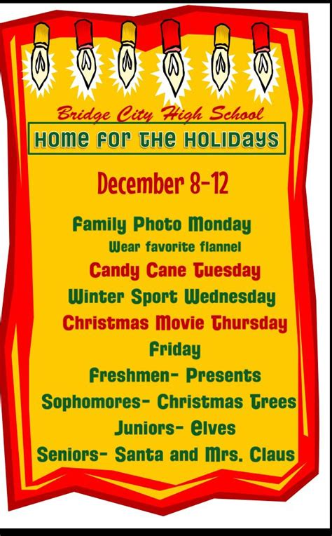 christmas week at school winter spirit week quot home for the holidays quot spirit ideas themes wear spirit weeks