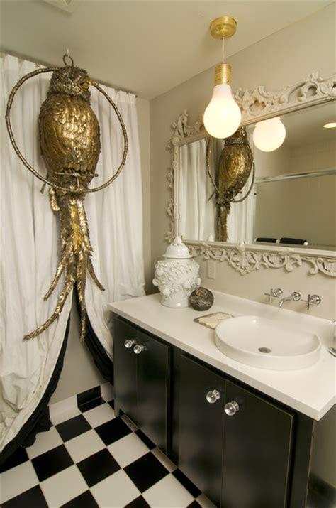 black and white checkered bathroom floor glam pop
