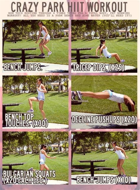 park bench exercises hiit workout requires park bench or bleachers bench