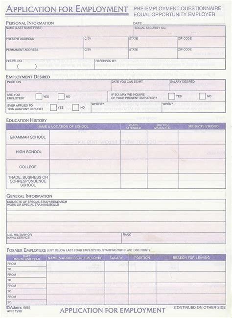 Resume Blank Forms To Fill Out Employment Applications Printable Template Employment