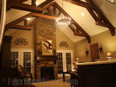 vaulted ceiling with beams sandblasted faux wood beams create a beautiful truss that