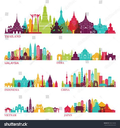 indonesia detailed skyline vector illustration stock skyline detailed silhouette set thailand malaysia stock