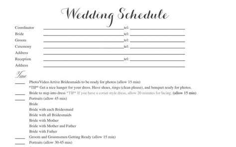 Wedding Ceremony Itinerary Template by Free Wedding Itinerary Templates And Timelines