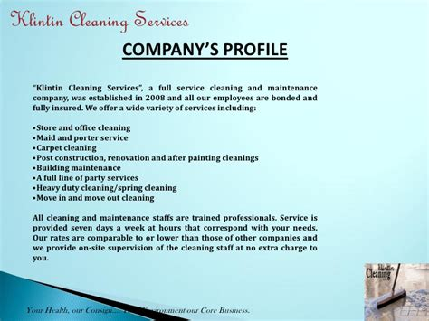 Introduction Letter Housekeeping Company Klintin Cleaning Services Presentation