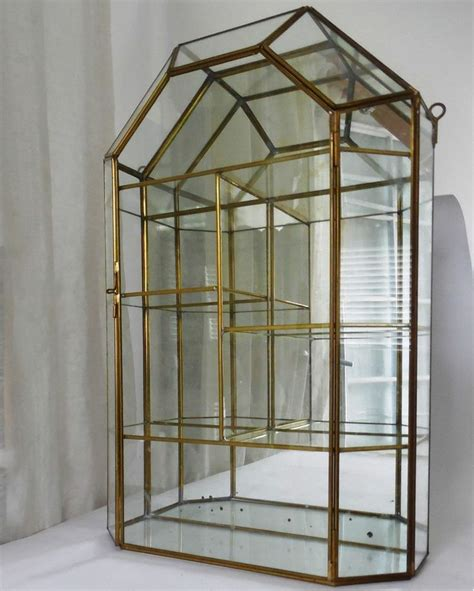 table top curio display case vntg brass glass mirror table top wall curio display