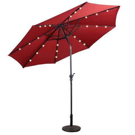 9 Deluxe Solar Powered Led Lighted Patio Umbrella Tan Solar Patio Umbrella