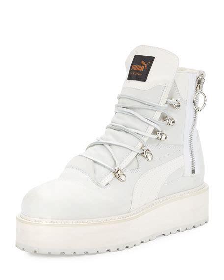 Pma Rihana Pink fenty by rihanna leather platform sneaker boot white