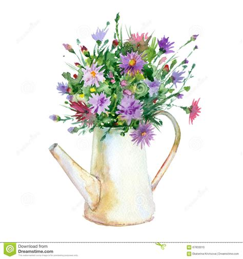 Watercolor Flowers In Vase by Watercolor Flowers In Vase Stock Illustration Image