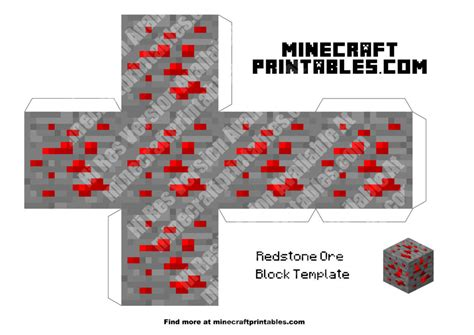 minecraft redstone coloring pages redstone ore printable minecraft redstone ore papercraft