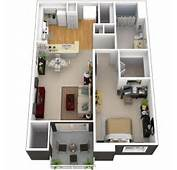 3D Small Home Floor Plans With Bedroom And Terrace  My Pins