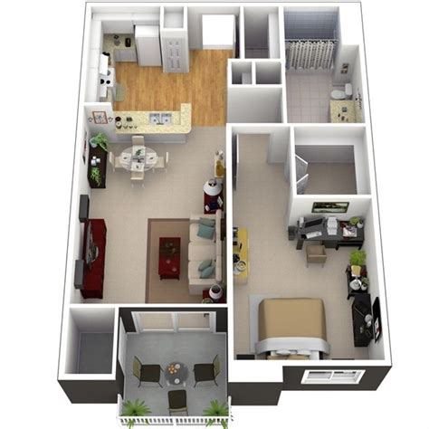 small one bedroom apartments 3d small house plans under 1000 sq ft with loft and one