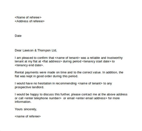 Reference Letter For Tenant Australia Tenant Reference Letter 8 Documents In Pdf Word Sle Templates