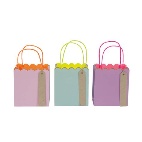 small gift bags set of three pastel and neon small gift bags by