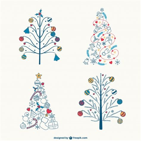 colorful christmas trees drawings vector free download