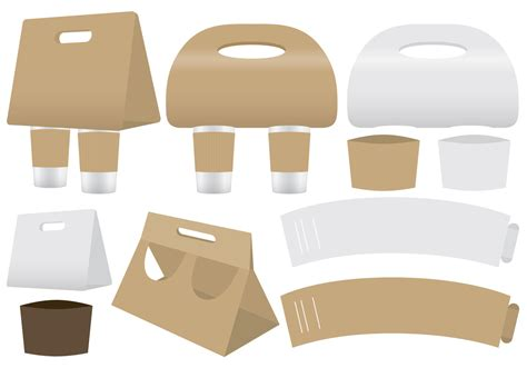 Coffee Holders And Sleeve Vectors Download Free Vector Art Stock Graphics Images Packaging Sleeve Template