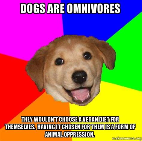 are dogs omnivores dogs are omnivores they wouldn t choose a vegan diet for themselves it chosen
