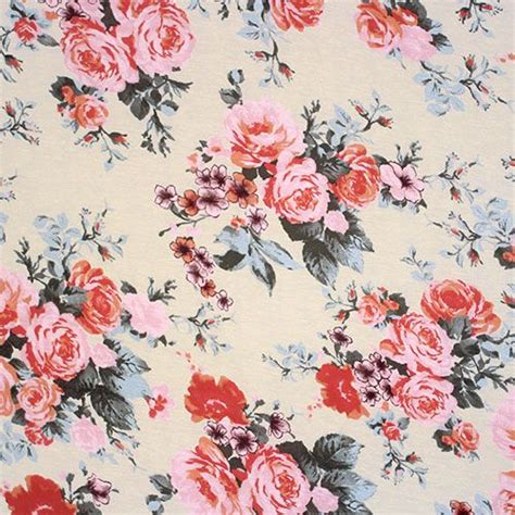 vintage pattern knit fabric vintage roses on ivory cotton jersey blend knit fabric