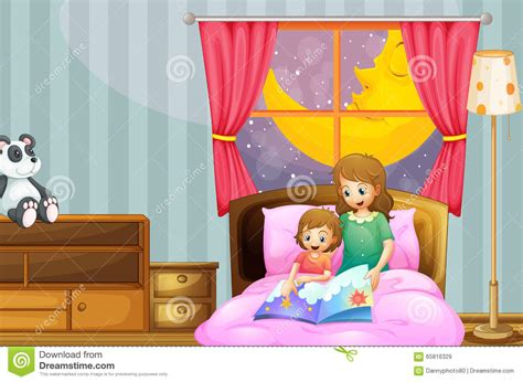 bed story mother telling bedtime story at night stock illustration