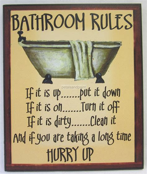 novelty bathroom signs new novelty funny wooden wall sign bathroom rules rustic