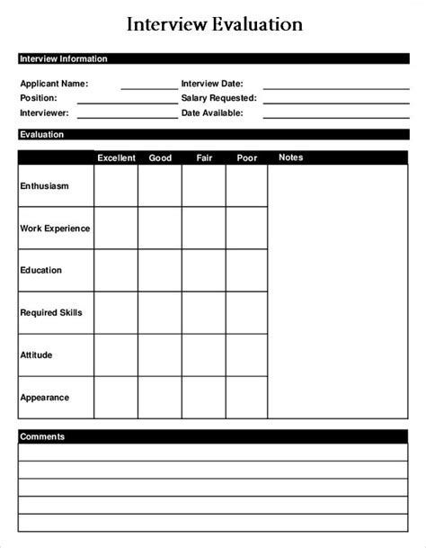 interview evaluation form 14 download free documents in