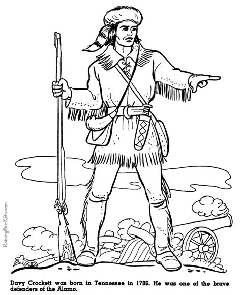 Davy Crockett Coloring Page davy crockett at alamo coloring pages 040