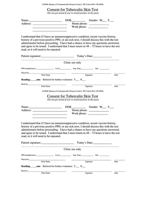 printable tb questionnaire tb consent form template pictures to pin on pinterest