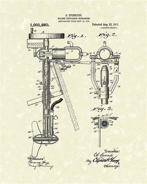 motor boat drawing evinrude boat motor 1911 patent drawing by prior