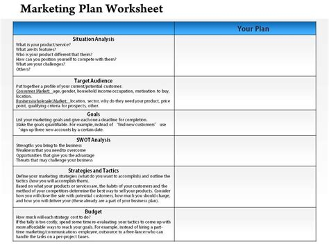 Marketing Plan Worksheet Template 1114 Marketing Plan Worksheet Powerpoint Presentation