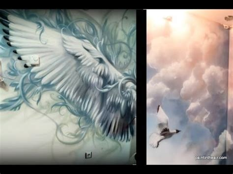 Wall Murals Diy bird wings and clouds airbrush mural speed painting