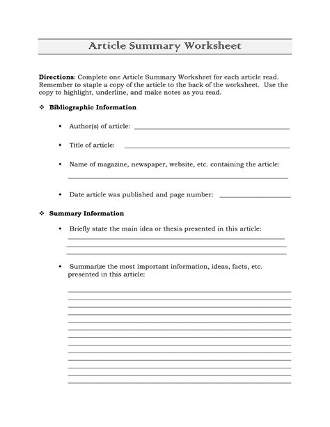 science article summary template best photos of newspaper article summary sheet newspaper