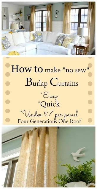how to make cheap curtains diy how to make curtains using burlap she used the same